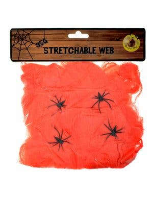 Stretchable Orange Spider Web with Spiders Halloween Decoration