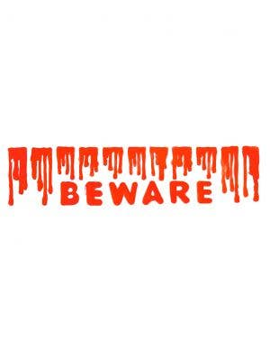 Beware Blood Drip Halloween Window Cling Decoration