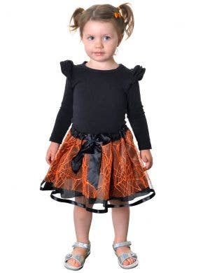 Spiderweb Kids Toddler Tutu Skirt in Orange and Black