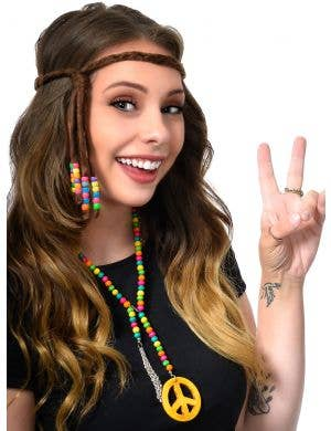 Suede Look Brown Plaited 70s Hippie Headband with Beads