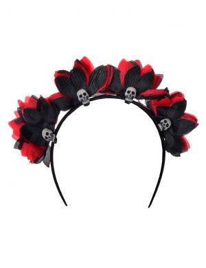 Skulls and Red and Black Flowers Day of the Dead Headband