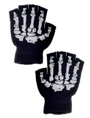 Day of the Dead Women's Fingerless Skeleton Gloves Costume Accessory