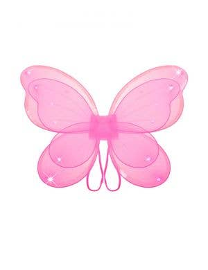 Sparkly Pink Girls Butterfly Costume Wings