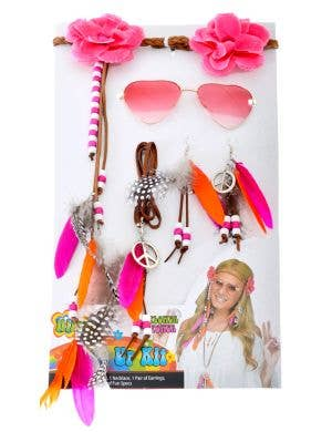 Flower Power Pink 1970's Hippie Costume Accessory Set