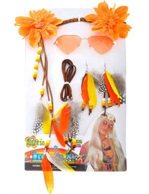 70's Orange Hippie Dress Up Costume Accessory Set