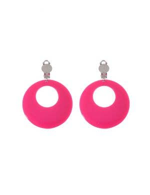 Clip On Women's Pink Earrings Costume Accessory