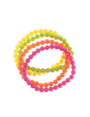 80's Neon Beaded Bangles Set Costume Accessory