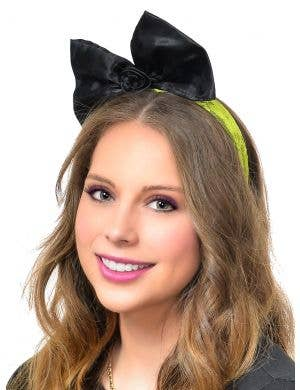 Awesome 80s Neon Green Lace and Black Satin Bow Costume Headband