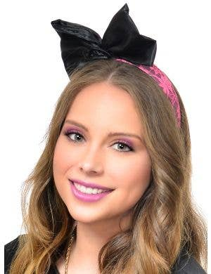 Awesome 80s Neon Pink and Black Bow Headband
