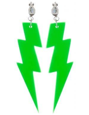 Lightning Bolt 80s Earrings - Neon Green