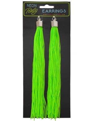 Clip On Neon Green Tassel 1980's Costume Earrings