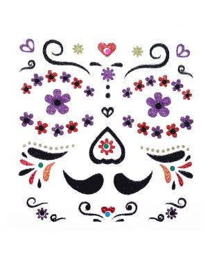 Day of the Dead Mariachi Face Glitter Stickers Costume Accessory