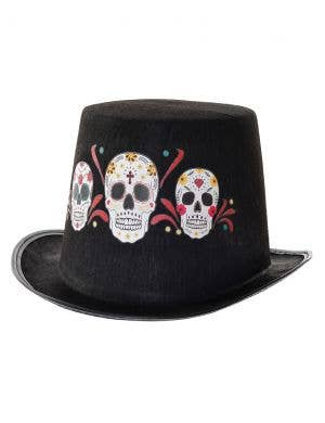 Sugar Skull Black Day of the Dead Top Hat