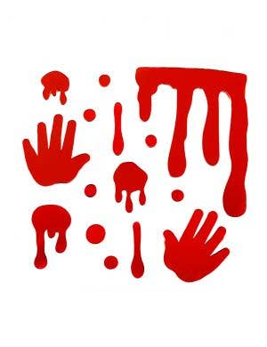 Bloody Drip and Hand Print Red Gel Window Clings