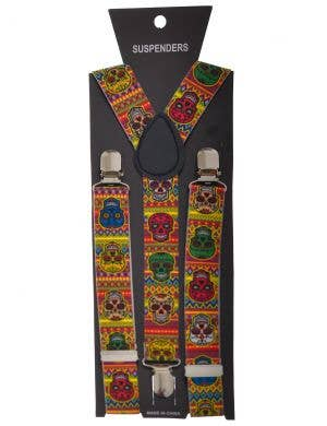 Day of the Dead Sugar Skull Rainbow Costume Suspenders
