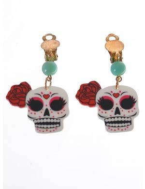 Clip On Day of the Dead Sugar Skull Costume Earrings