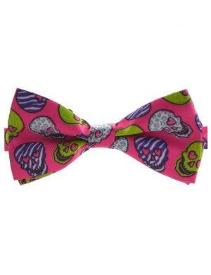 Day of the Dead Pink Sugar Skull Bow Tie Accessory