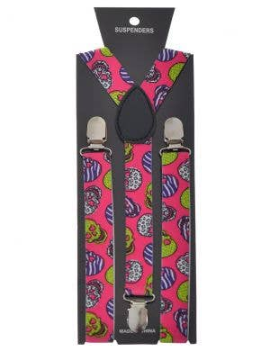 Day of the Dead Pink Sugar Skull Costume Suspenders
