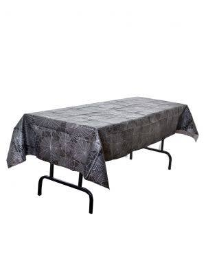 Spider Web Print Black Halloween Table Cover