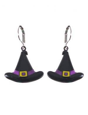 Small Black and Purple Witch Hat Halloween Earrings