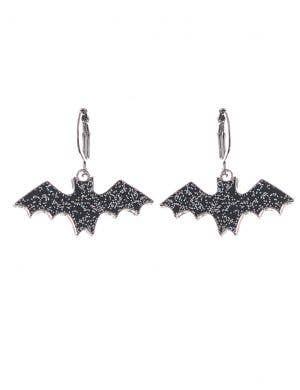 Little Silver Glitter Black Bats 3.5cm Drop Halloween Earrings