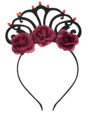 Rose Queen Black and Red Crown Costume Headband