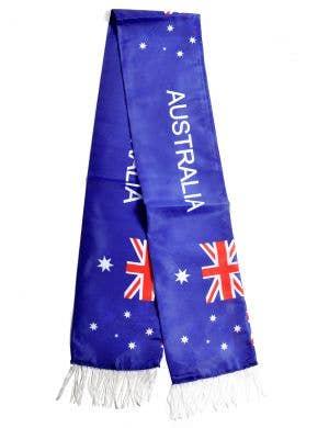 Australia Day Blue Aussie Flag Scarf with Fringing