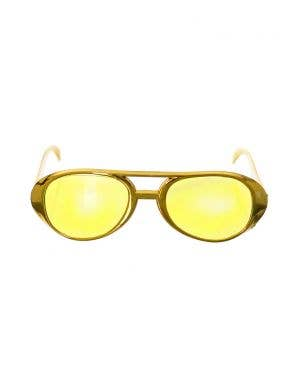 Aviator Style Gold Sunglasses Costume Accessory