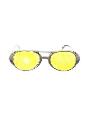 Aviator Style Silver Sunglasses Costume Accessory