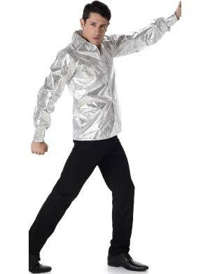 1970's Men's Silver Disco Costume Shirt