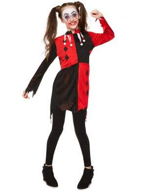 Zombie Harlequin Girl's Halloween Costume