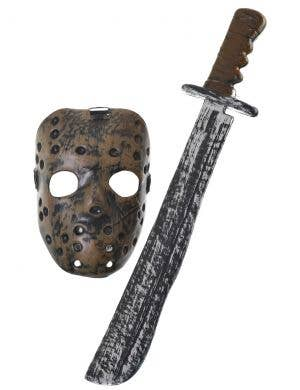 Hockey Mask and Machete Halloween Scary Costume Weapon Set