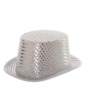 Sequined Adult's White Top Hat Costume Accessory
