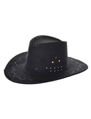 Suede Look Black Cowboy Hat Costume Accessory