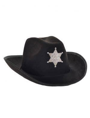 Western Sheriff Adult's Black Cowboy Costume Hat