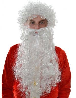 Jolly Santa Curly White Wig and Beard Accessory Set