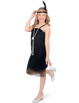 1920's Black Fringed Flapper Girls Dress Up Costume