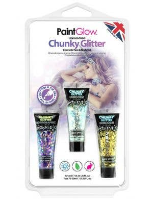 Unicorn Tears Chunky Glitter Gel Makeup - 3 Pack