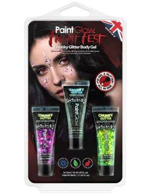 Fright Fest UV Reactive Chunky Glitter Gel Makeup - 3 Pack