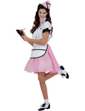 Women's 50's Pink Diner Waitress Costume Front View