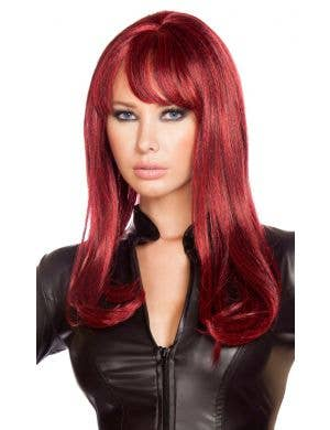 Burgundy Black Widow Women's Costume Wig