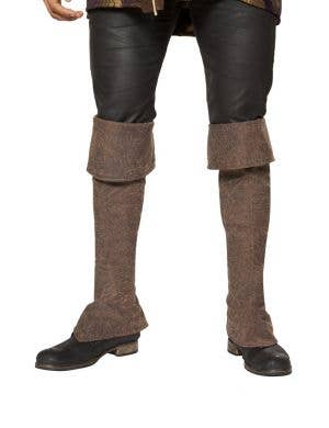 Pirate Brown Boot Covers with Zipper Costume Accessory