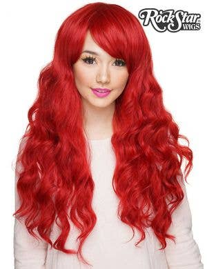 Classic Crimson Red Deluxe Women's Wavy Wig