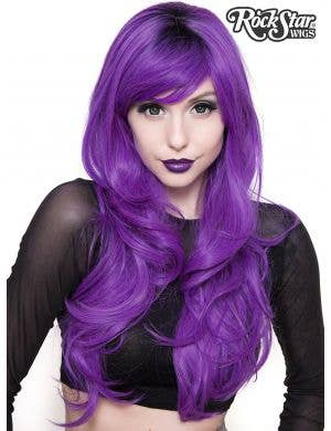 Deluxe Women's Uptown Girl Purple Heat Resistant Wig