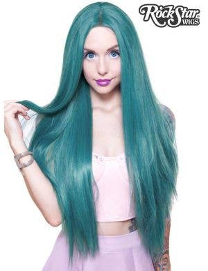 "Premium Lace Front Yaki Straight 32"" Women's Wig - Turquoise Mix"