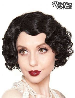 1920's Flapper Finger Waves Women's Black Costume Wig
