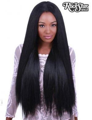 "Premium Lace Front Yaki Straight 32"" Women's Wig - Black"