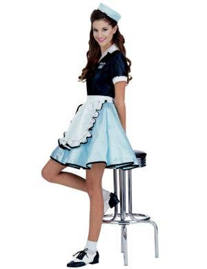 Retro 50's Women's Blue Waitress Costume Front View