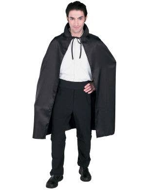 Long Black Satin Adult's Halloween Costume Cape