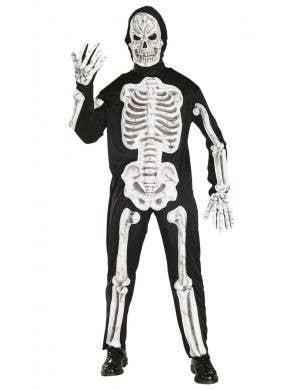 Skeleton Bones Print Jumpsuit Adult's Scary Halloween Costume Main Image